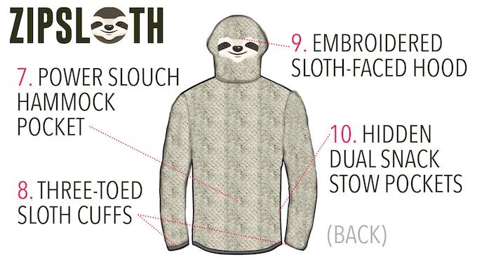ZipSloth hoodie features - BACK