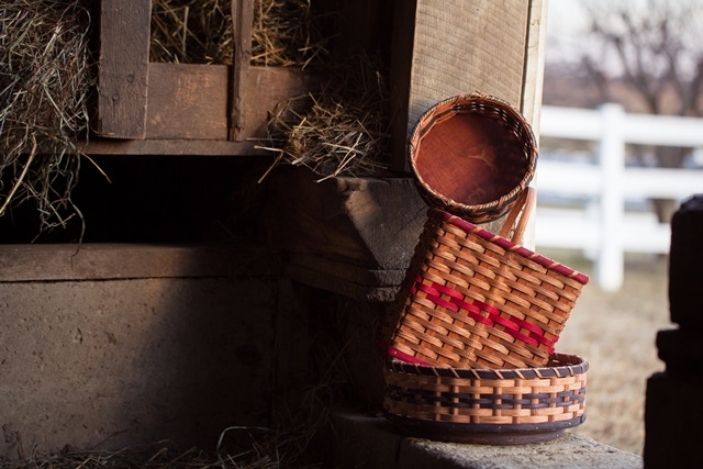 Button Basket, Tall Basket with Handle and Lazy Susan
