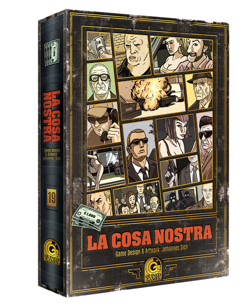 In La Cosa Nostra you play the role of a mafia boss, through means of manipulation and intrigue you try to outsmart your opponents.