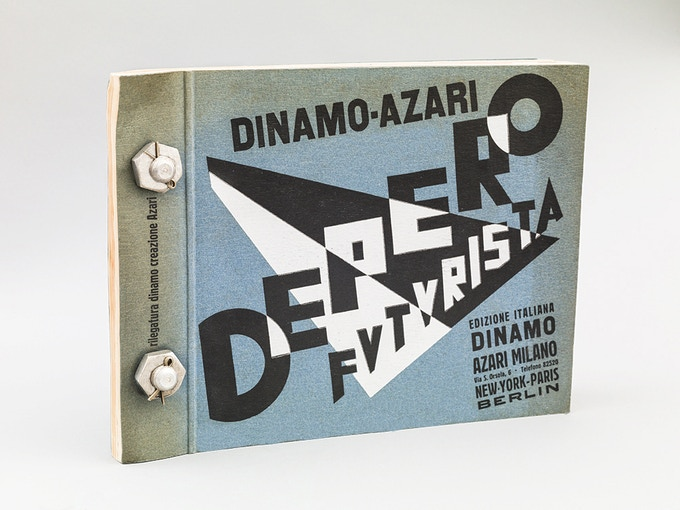 "Cover of ""Depero Futurista"" (""Depero the Futurist""), or The Bolted Book, published by Dinamo-Azari (Milan, Italy), 1927. 12.5 x 9.5 in. (32 x 24.2 cm), oblong. Photo: Adam Reich"