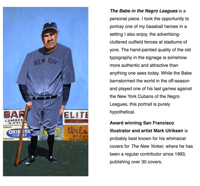 """""""The Babe in the Negro Leagues"""" by Mark Ulriksen. Exclusive offering!"""