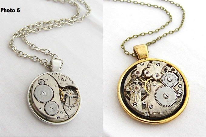 Steampunk Pendant, Select color, approx. 1 and 1/4 inch in diameter