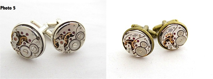 Steampunk Cufflinks, select color, 16mm in diameter