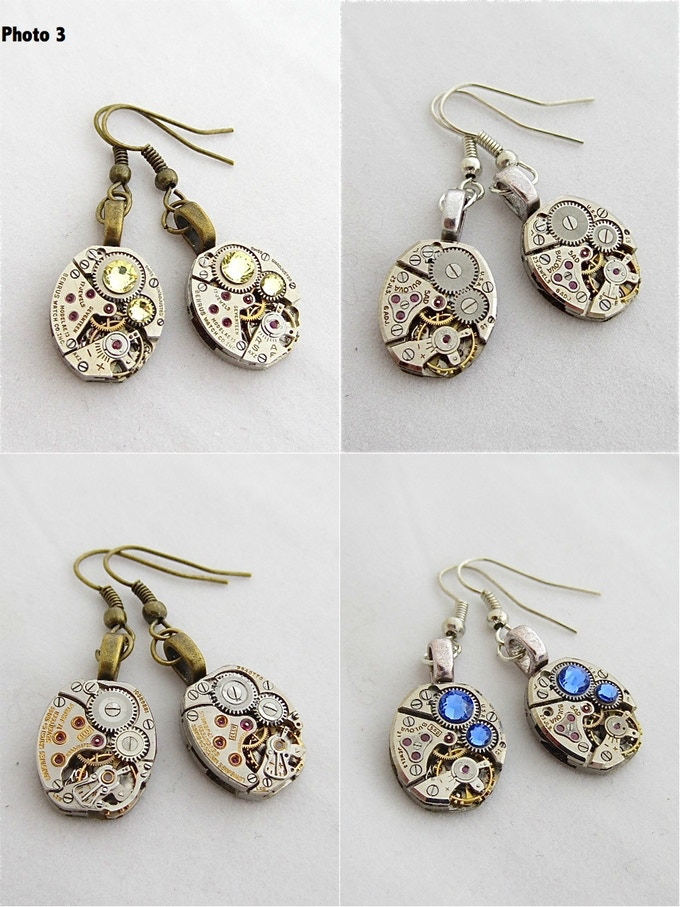 Steampunk earrings, choose color, approx. 1 inch in length