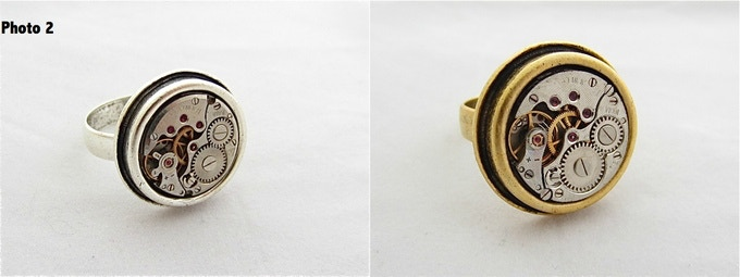 Steampunk ring, choose your color 16mm in diameter