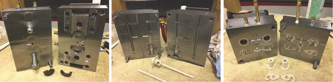 Images of the three steel molds created for the EEW5.  Left are the flyer brackets.  Middle are flyer and slider bar.  Right are slider hooks and orifice bushings.