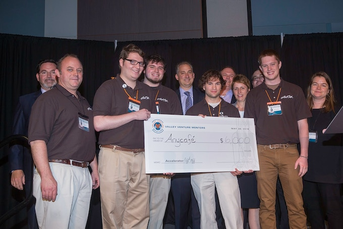 The AnyCafé Team accepting a $6000 grant from Valley Venture Mentors in May, 2016.
