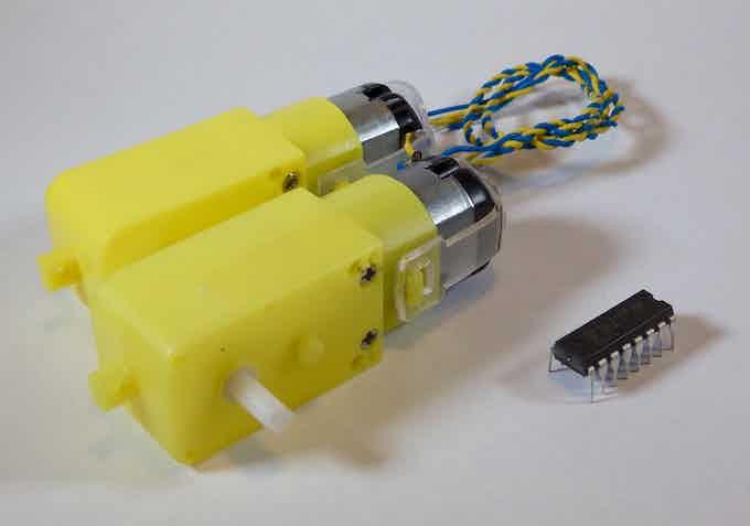 Two Little Yellow Motors + L293D driver chip