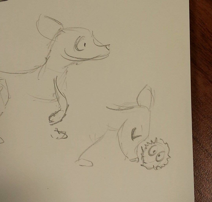 Early concept of Nymn rolling a Fuzzl to its nest