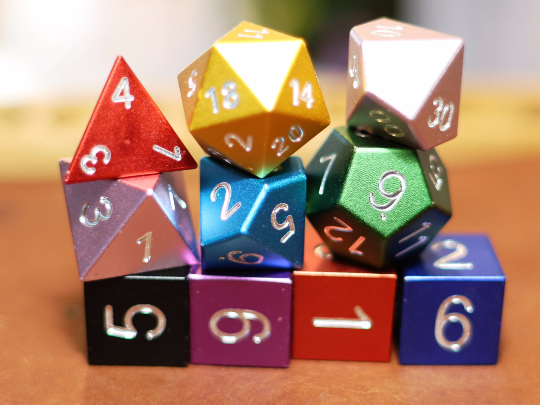 One of each color equals 10 dice ready to roll.