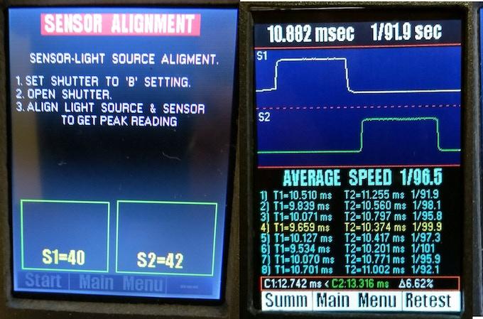 Sample screens showing dual sensor testing