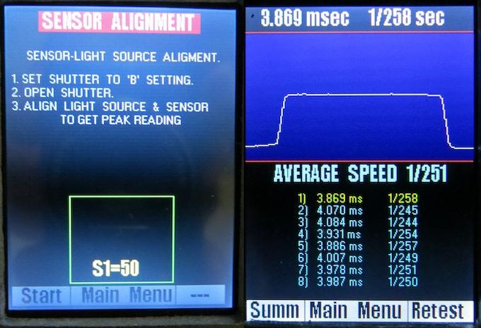 sample screen of single sensor testing