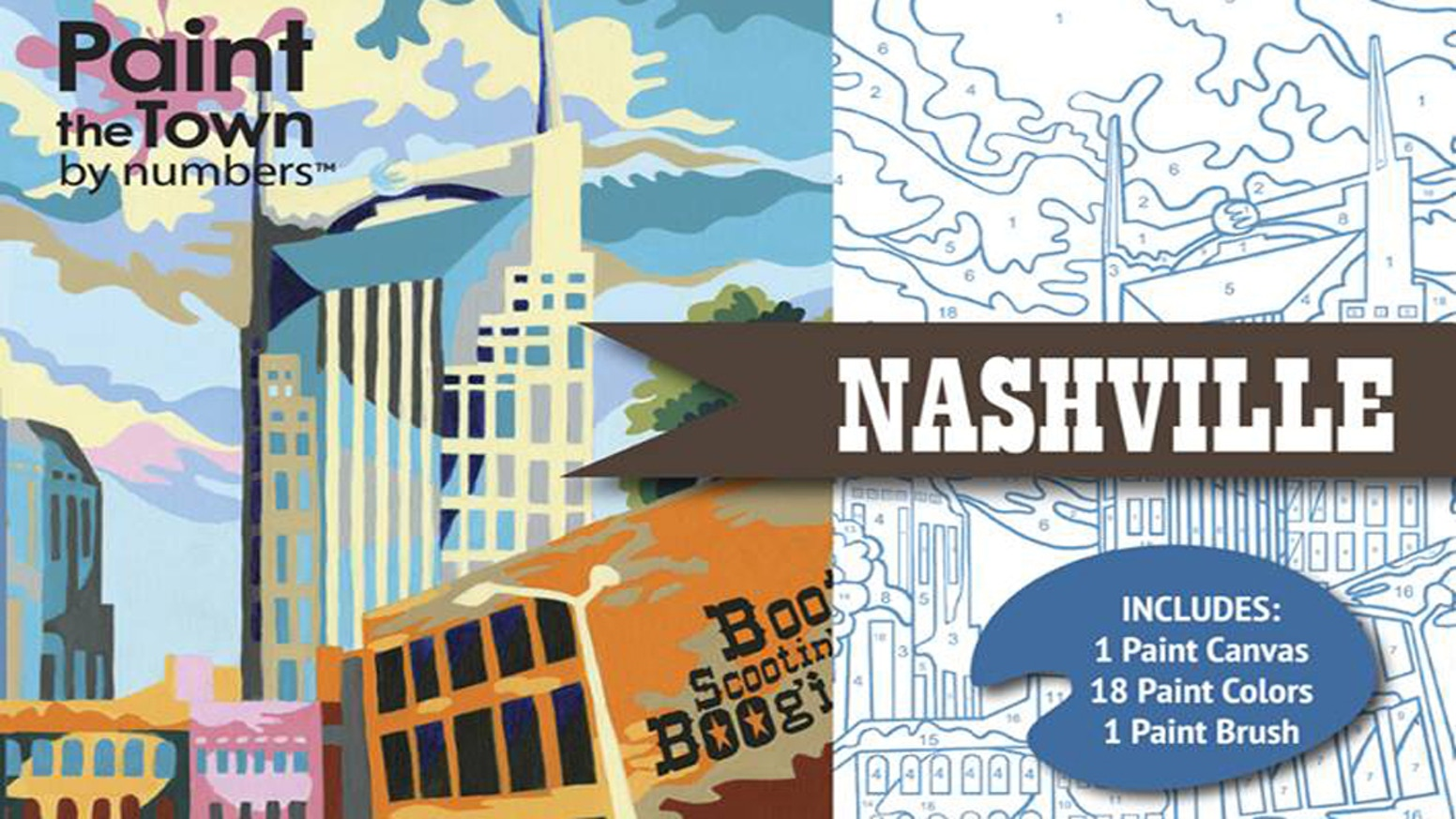 A paint by numbers kit of Nashville, Tennessee, featuring color names that tell more about what people love the most about our city!