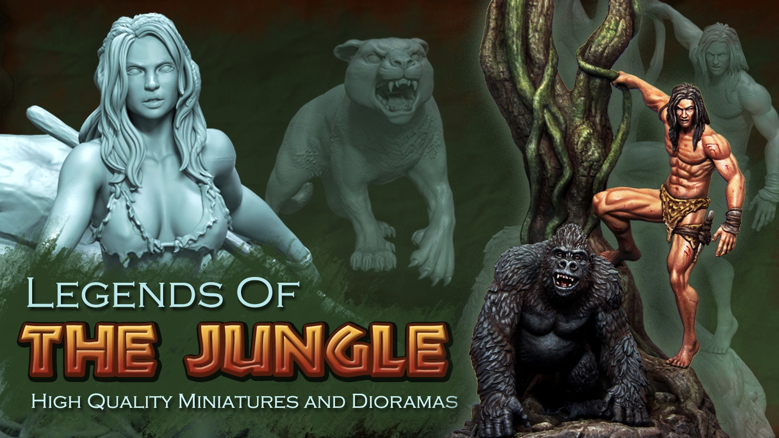 legends of the jungle by oliver posvek kickstarter legends of the jungle is a project to create a new and special line of high quality 75 mm and 54 mm scale characters and animals