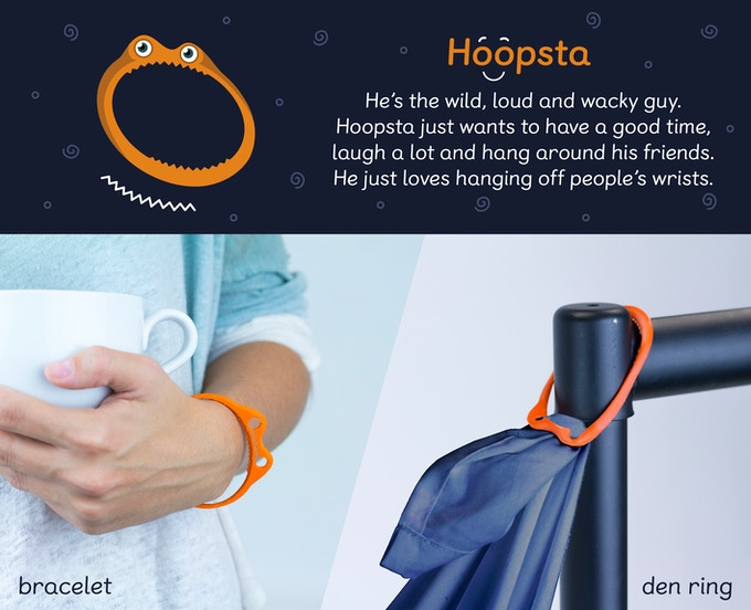 Hoopsta hooks around door knobs, bed poles. Wrap a bedsheet through his mouth and he won't let go!
