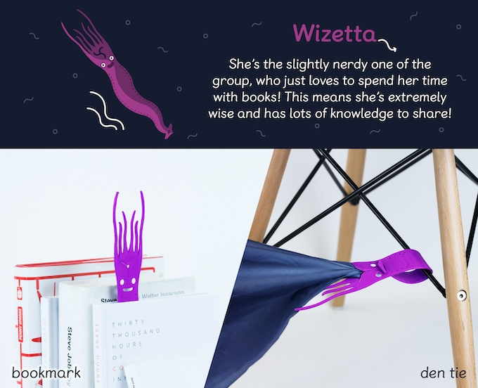 Wizetta is very flexible and curls around handles and rods, so you can attach her in those difficult spots, where nothing else holds! She has a special star-shaped hole that can grab bedsheets and blankets.