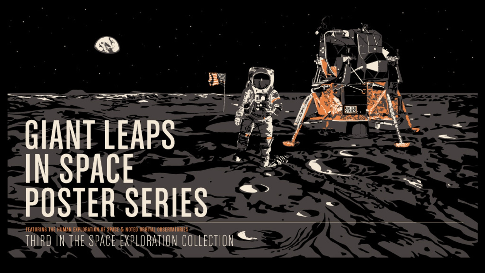 Giant Leaps featuring the historic missions of human spaceflight is the third in our series of space exploration prints