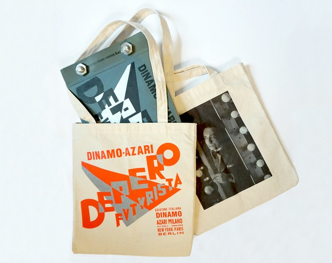 For $22: Depero Futurista Tote Bag, featuring artwork on both sides from The Bolted Book. For $151: Depero Futurista Tote Bag AND a copy of The Bolted Book Facsimile and Reader's Guide (get the bag and book together!).