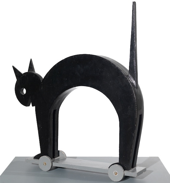 "For $160 (small) and $270 (large): replica of this 1981 reconstruction of a Depero-designed marionette from 1918, ""Black Cat,"" in the collection of Mart, Rovereto, Italy."