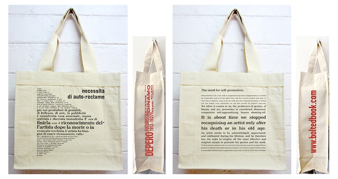 "For $34: Depero ""Promote Yourself"" Tote Bag, featuring the full text of ""The Need for Self- Promotion"" in original Italian and English translation."