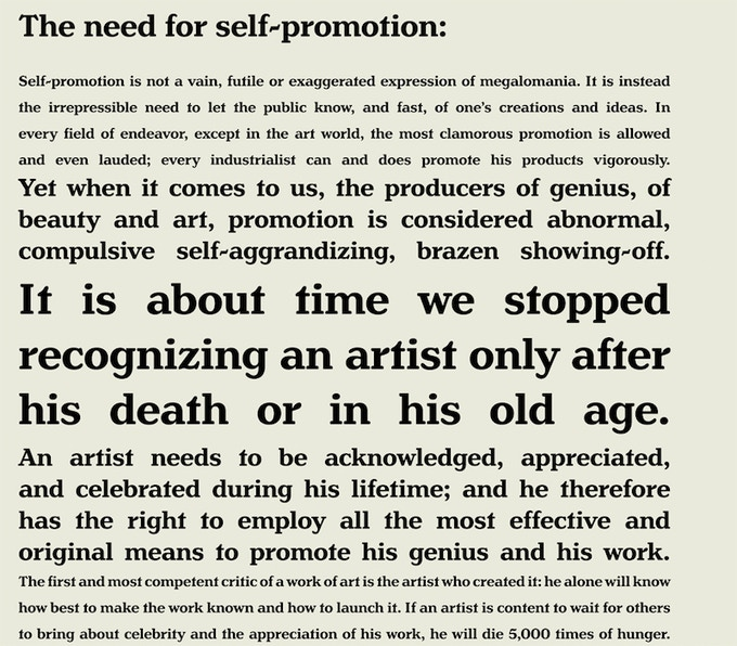 "Detail showing full English translation of ""The Need for Self-Promotion."""