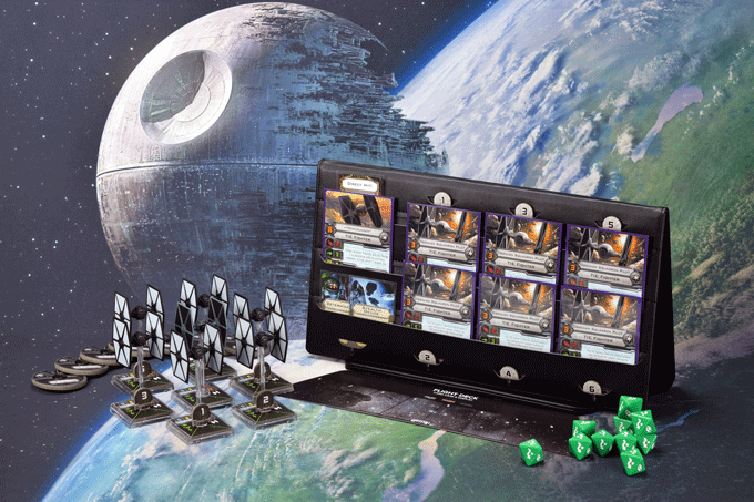Flight Deck depicted here with parts from X-Wing Miniatures Game to contextualize storage capacity.