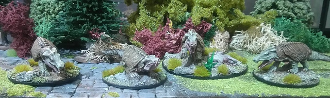 Armored Crocodiles, sculpted by Jason Wiebe, painted by Rochie Rochfort.