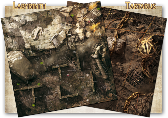 The Labyrinth and Tartarus boards, ravaged by the cataclysm. Artwork by Georges Clarenko