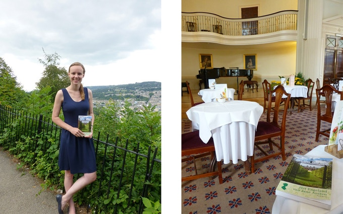 Lysanne in August 2014, on Beechen Cliff and visiting the Pump Room in Bath - places that Catherine Moreland in Northanger Abbey knew well!