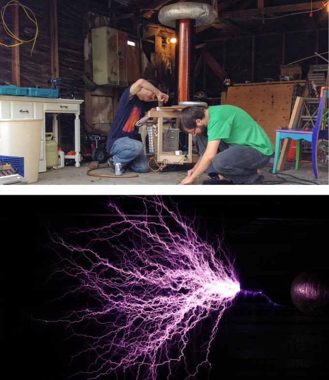 (Above) David and Michael working on the 6 ft. custom built Tesla coil. (below) The Tesla coil firing some mad electricity!