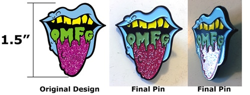 OMFG Pin with GID letters and glitter!