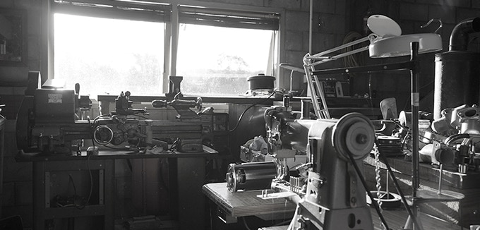 The BTFB prototype workshop - using everything from an Australian 1950s lathe, 1960s German walking foot leather sewing machine... to a state of the art 3D printer and fancy new powder coat system. No gimmicks here!