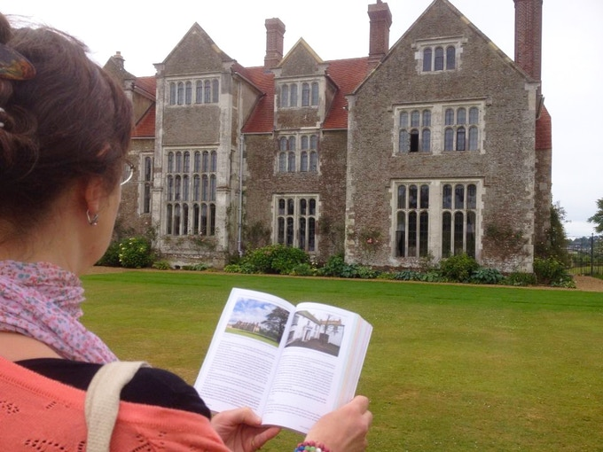 Odette and the guidebook at Loseley Park (which was used as film location in the BBC series of Sense and Sensibility and Emma) in 2015