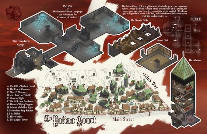 Interior Folio city block map + dungeon from Folio #8
