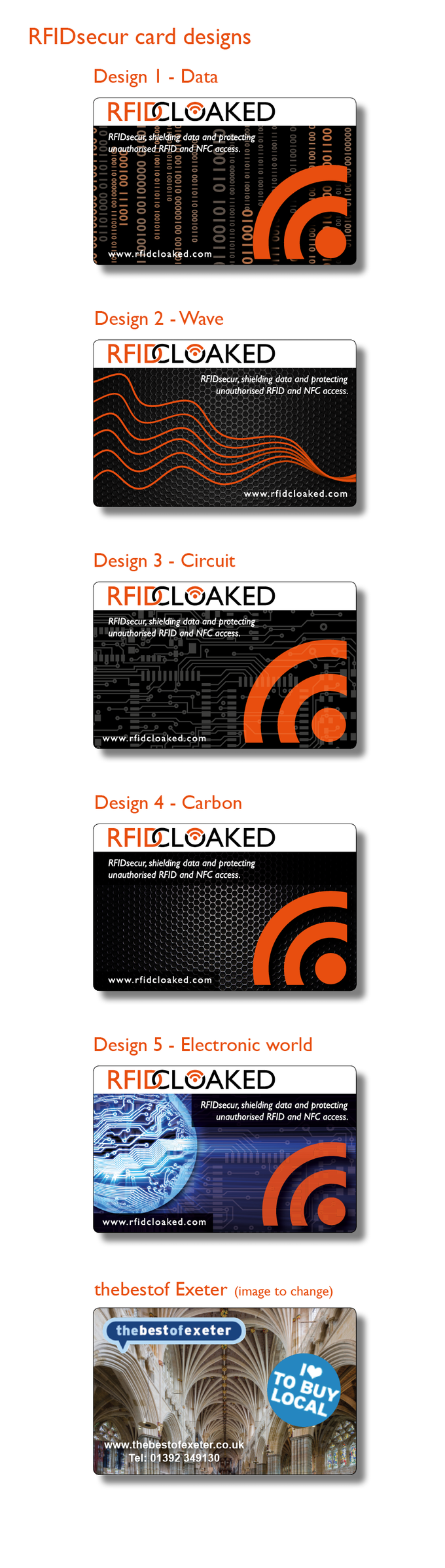 RFIDsecur card designs