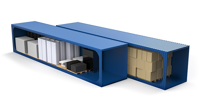 Parts fitting in the standard 40' shipping containers