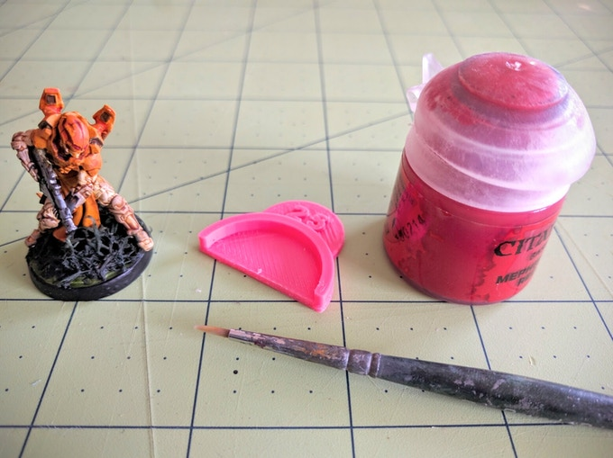 A Crusader, 25mm Arc Guide prototype, and some paint.