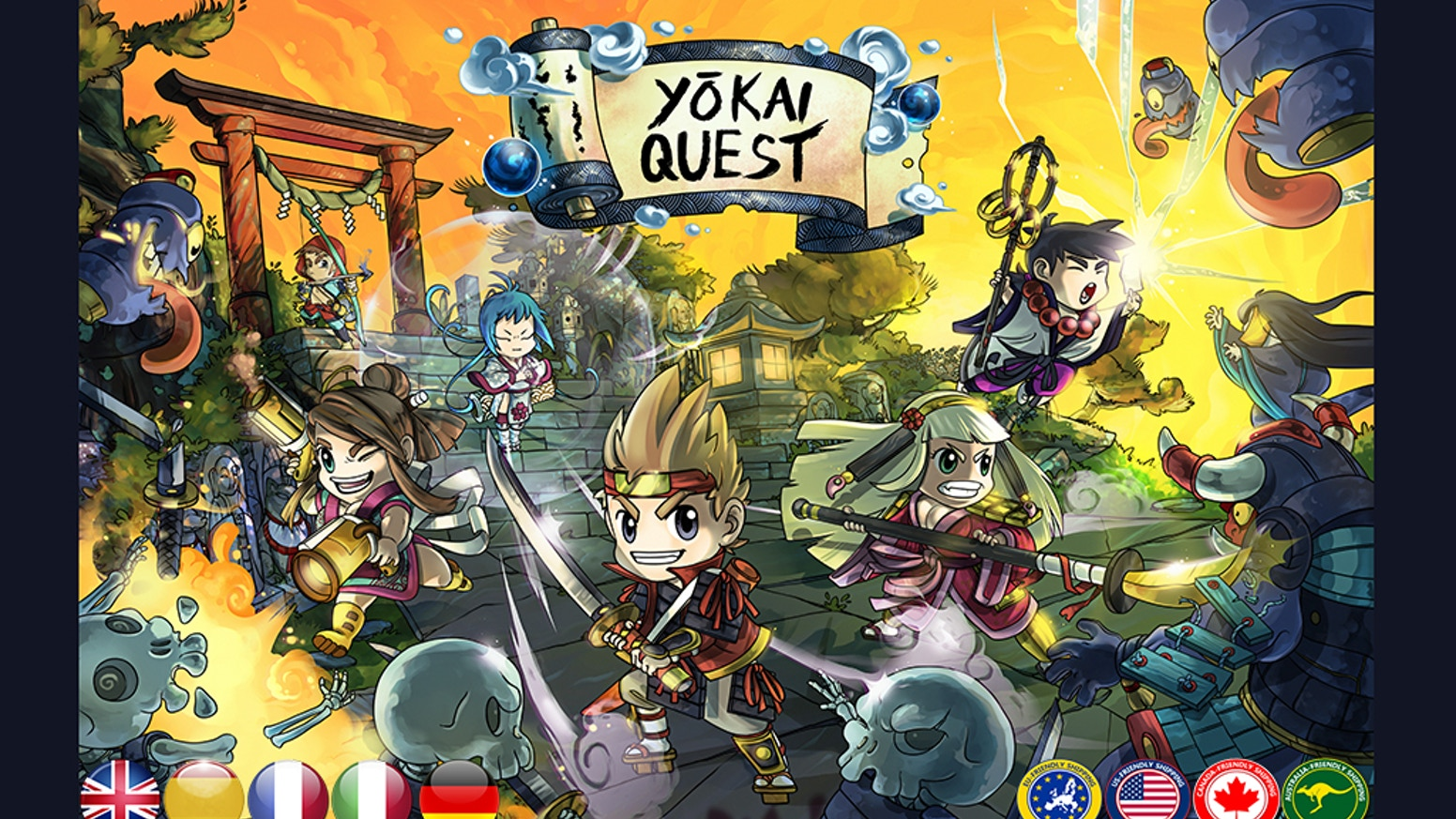 Yōkai Quest is a collaborative game for 1 or more players, set in a fantasy, Japan-inspired world with a chibi look.