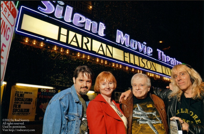 Jason Davis, Susan Ellison, Harlan Ellison, and Charnel House publisher Joe Stefko outside the Silent Movie Theatre in West Hollywood, January 2012.