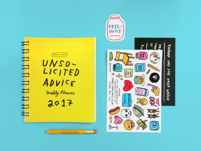 Every copy of Unsolicited Advice comes with a mini pencil, full-color sticker sheet and additional surprise extras as the campaign grows.