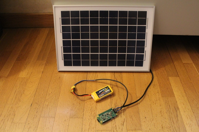 PiSolMan Module + Raspberry Pi Zero + 11.1 V Li-Poly Battery + 10 W Solar Panel