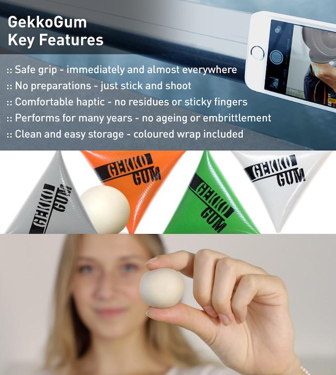 GekkoGum comes in four different standard wrap colours: orange, grey, green & white