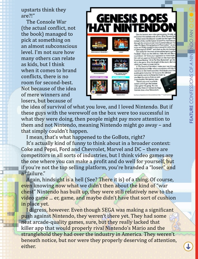 """A preview page from our """"Confessions from a Nintendo Fan"""" column."""