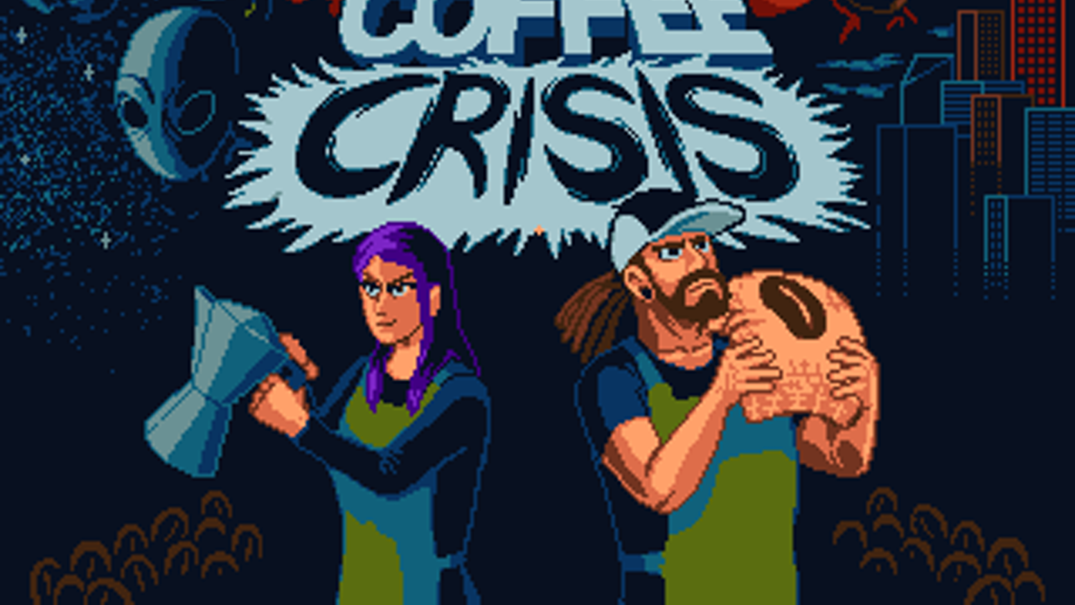 Coffee Crisis is a metal Sega Genesis game in 16-bit, Hi-Definition glory.  Stop the Smurglians & save the Earth!