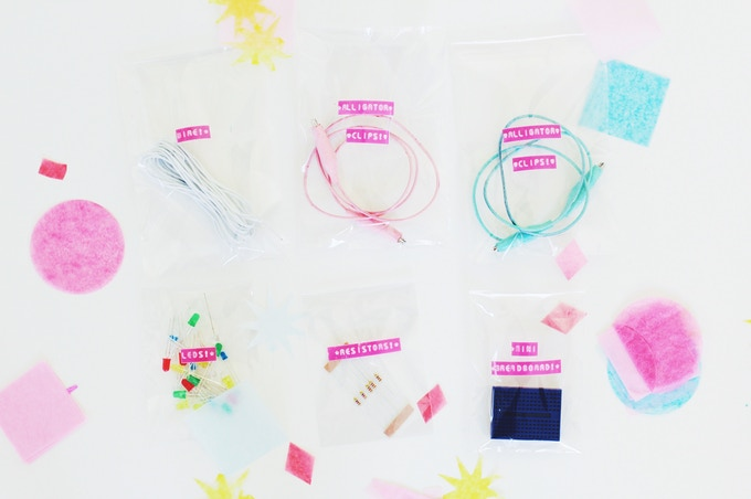the world's cutest electronics kit will include pastel alligator clips, LEDs, resistors, wire, a breadboard & more!