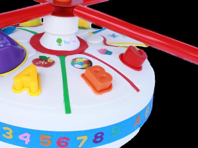 No-tip fillable base with alphabet toys