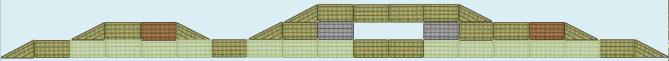 Light green = tall plants; dark green = low to medium plants; brown = bird platforms; grey = turtle platforms