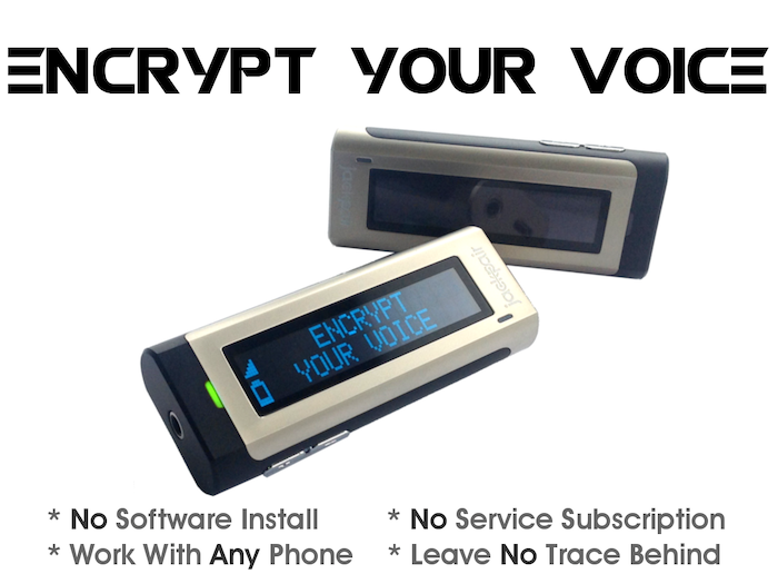 JackPair protects your privacy by encrypting your voice over phone calls.  It works with any device through standard 3.5 mm audio jack.