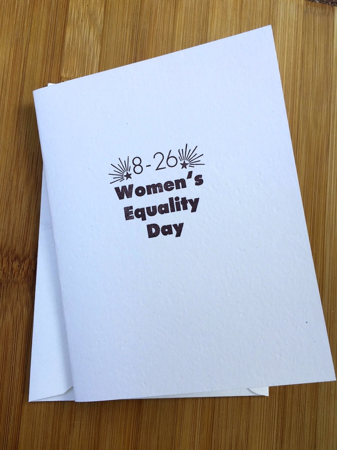 Women's Equality Day hand letter pressed car