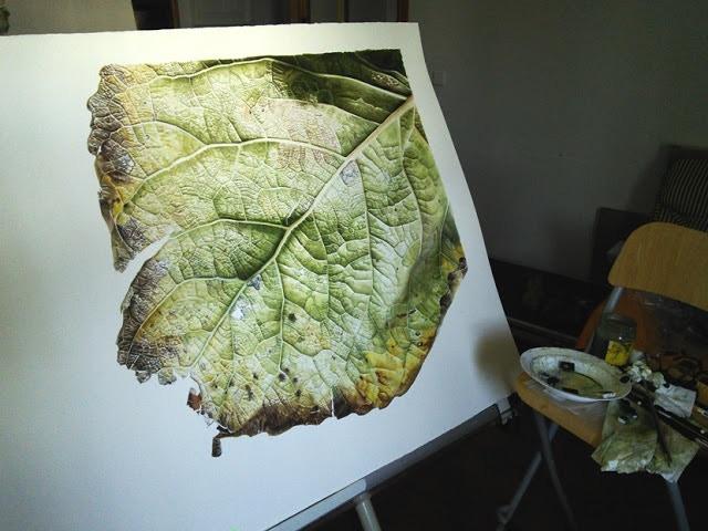 Leaf 041120151203 Poplar 3 (Populus x canadensis), 90 x 120cm, Watercolour on Paper